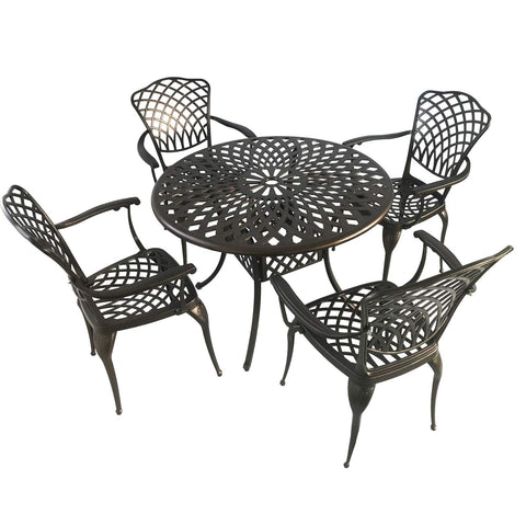 Kinger Home 5-Piece Cast Aluminum Patio Dining Set w/ 4 Chairs, Umbrella Hole, Lattice Weave Design - Brown