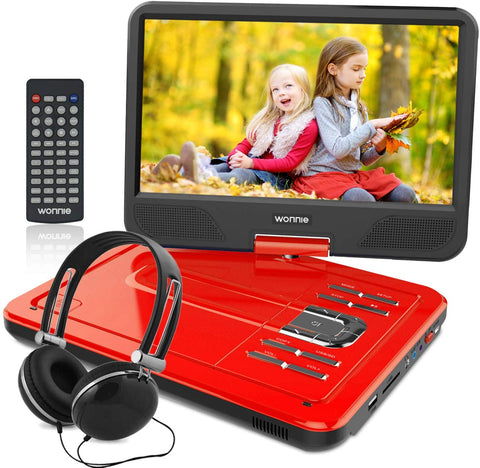 "WONNIE 12.5 Inch Portable DVD Player, 10.5"" Swivel Screen, 4 Hour Rechargeable Battery, USB / SD Slot (RED)"