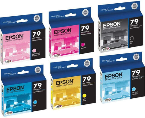 6 Pack (Full Set) Epson 79 T079120, T079220, T079320, T079420, T079520, T079620 Ink Cartridges for Epson Stylus Photo 1400 Printers