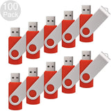 RAOYI 100PCS 4G USB Flash Drive USB 2.0 4GB Flash Drive Memory Stick Fold Storage Thumb Stick Pen New Swivel Design Red
