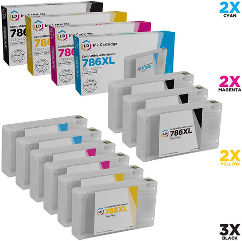 LD Remanufactured Ink Cartridge Replacement for Epson 786XL High Yield (3 Black, 2 Cyan, 2 Magenta, 2 Yellow, 9-Pack)