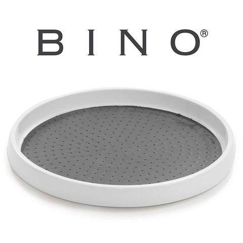 BINO 9-Inch Lazy Susan Turntable Spice Organizer, White - Plastic Rotating Tray For Kitchen Pantry, Refrigerator, Freezer, Cabinet, and Countertops