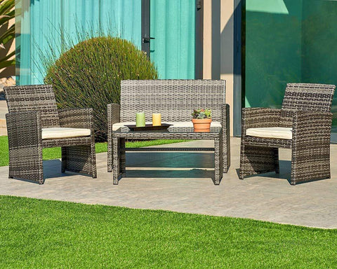 SUNCROWN Outdoor Patio Furniture Set, 4-Piece All-Weather Grey Wicker Conversation Set Glass Top Table & Thick, Durable Cushions Washable Covers