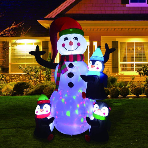 GOOSH 6Foot High Christmas Inflatable Snowman Penguin Climbs The Stairs LED Lights Indoor-Outdoor Yard Lawn Decoration - Cute Fun Xmas Holiday Blow Up Party Display (6FT Inflatable Snowman Penguin)