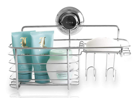 BINO SMARTSUCTION Rust Proof Stainless Steel Shower Caddy, Combo Basket