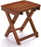 URFORESTIC 100% Natural Bamboo Folding Stool Shower Bench Seat Fully Assembled