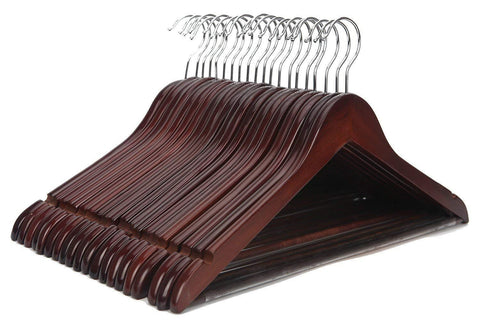 JS HANGER Solid Wooden Suit Hangers Retro Finish with Anti-Rust Hooks and Non-Slip Bar - 20 Pack