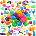 FUNNISM 50 Pieces Toys Filled Surprise Eggs, 2.5 Inches Bright Colorful Prefilled Plastic Surprise Eggs with 25 kinds of Popular Toys