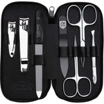 Manicure set made in Germany - 7 piece stainless steel exclusive finger & toe nail clipper set in luxury leather case, made in Solingen Germany