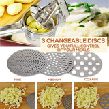 RUNHELIX Potato Ricer Stainless Steel with 3 Interchangeable Ricing Discs (Fine, Medium, Coarse) - Premium Baby Food Strainer, Fruit Masher and Food Press with Ergonomic Comfort Grip