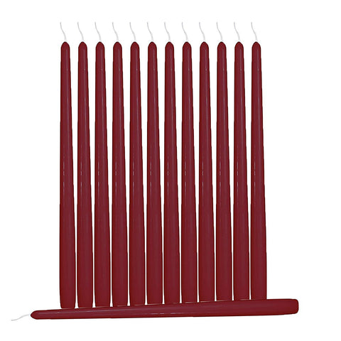 Hyoola 12 Pack Tall Taper Candles - 10 Inch Burgundy Dripless, Unscented Dinner Candle - Paraffin Wax with Cotton Wicks - 8 Hour Burn Time