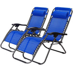 Idealchoiceproduct 2-Pack Zero Gravity Outdoor Lounge Chairs Black Patio Adjustable Folding Reclining Chairs with Removable Pillow