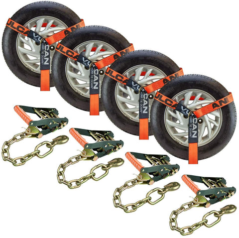 VULCAN ProSeries Orange 2 Inch x 96 Inch Lasso Auto Tie Down with Chain Anchors - 3300 lbs. Safe Working Load, 4 Pack - Easily Trailer Any Car, Truck, SUV, Jeep, Or Sportscar