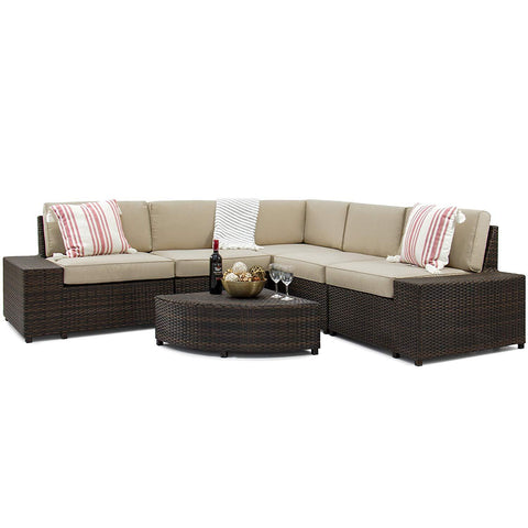 Best Choice Products 6-Piece Wicker Sectional Sofa Patio Furniture Set w/ 5 Seats, Brown
