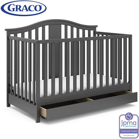 Graco Solano 4-in-1 Convertible Crib and Changer with Drawer Espresso, Fixed Side Crib, Solid Pine and Wood Product Construction, Converts to Toddler Bed Day Bed