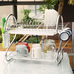 Brankeys Dish Drying Rack - 2 Tier Metal Drying Rack With Utensil Holder, Kitchen Dish Drainer and Cutting Board Holder for Kitchen Counter Top, Stylish Drying Rack for Dishes