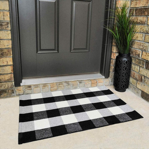 "Cotton Buffalo Plaid Rugs Black and White Checkered Rug Welcome Door Mat (23.6""x35.4"") Rug for Kitchen Carpet Bathroom Outdoor Porch Laundry Living Room Braided Throw Mat Washable Woven Buffalo Check"