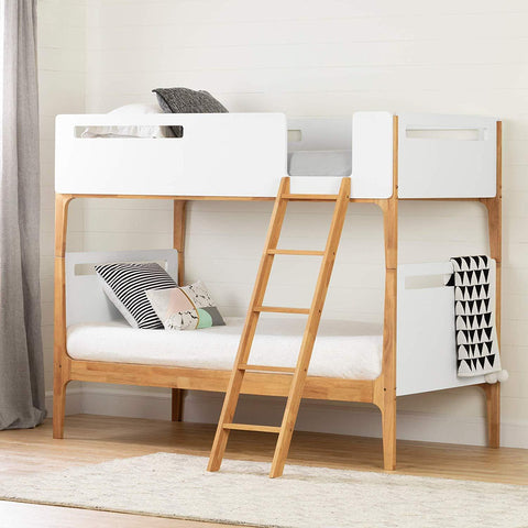"South Shore 12244 Bebble Twin Modern Bunk Beds (39""), Pure White and Exotic Light Wood"