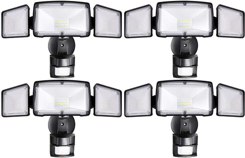 KINDEN 4 Pack 3-Head LED Security Lights Motion Outdoor, Motion Sensor Light Outdoor, 40W 3500 Lumens, 5000K, Waterproof, IP65 ETL, Motion Activated Flood Light