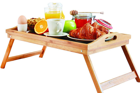 Bed Lap Trays for Eating - Dinner Trays for Lap - Breakfast in Bed Tray with Legs - Bamboo Bed Trays with Folding Legs