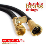 "Nifty Grower 100ft Garden Hose - All New Expandable Water Hose with Double Latex Core, 3/4"" Solid Brass Fittings, Extra Strength Fabric - Flexible Expanding Hose with Metal 8 Function Spray Nozzle"