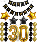 KATCHON 031 Party Decorations Kit-Happy Birthday Banner, 30th Balloons,Gold and Black, Number 30