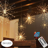 PXB 200LED Hanging Lights, Battery Operated Starburst Lights, 8 Modes Dimmable Remote Control, Waterproof Fairy Lights, Copper Wire Lights, Indoors Outdoors Patio Christmas Decoration (Warm White)