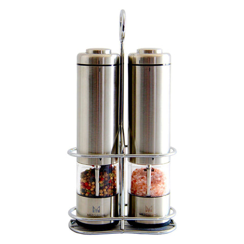 Electric Salt and Pepper Grinder Set by Mezcuisine – Premium Stainless Steel Salt&Pepper Mill Battery Operated with LED Light (Pack of 2) – Automatic Adjustable Shakers with Metal Stand