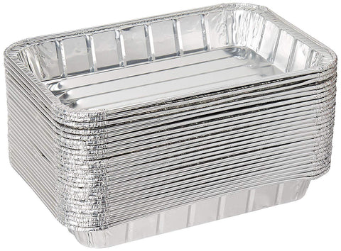 "Pack of 50 Disposable Aluminum Foil Toaster Oven Pans -Mini Broiler Pans | BPA Free | Perfect for Small Cakes or Personal Quiche | Standard Size - 8 1/2"" x 6"""