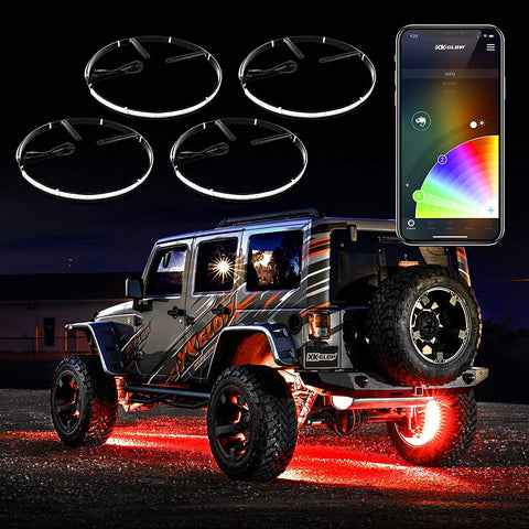 "4pc 15"" Wheel Ring Light Kit XKchrome App Controlled w/Turn Signal Function Universal Neon Underglow Accent Light Kit"