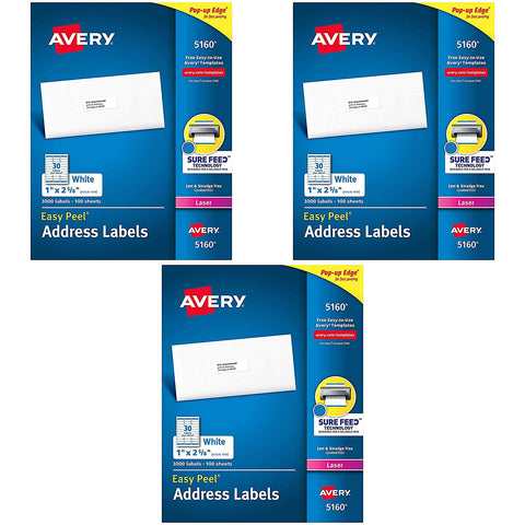 Avery 5160 Easy Peel Address Labels, White, 1 x 2-5/8 Inch, 3,000 Count (Pack of 1) Pack of 3