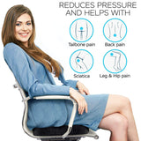 Seat Cushion for Office Chair - Extra Comfortable Orthopedic Memory Foam Coccyx Cushion Pad Relieves Back, Sciatica and Tailbone Pain Great Seat Pillow for Car Seat, Office...