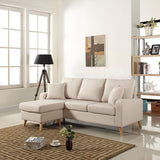 Divano Roma Furniture Mid Century Modern Linen Fabric Small Space Sectional Sofa with Reversible Chaise (Light Grey)