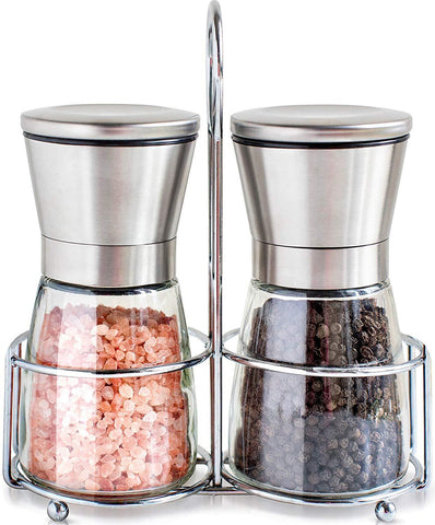 Original Stainless Steel Salt and Pepper Grinder Set With Stand - Tall Salt and Pepper Shakers with Adjustable Coarseness - Salt Grinders and Pepper Mill Shaker Set
