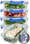[LARGER PREMIUM 5 SET] 36 Oz. Glass Meal Prep Containers with Lifetime Lasting Snap Locking Lids Glass Food Containers BPA-Free, Microwave, Oven, Freezer and Dishwasher Safe (4.5 Cups, 36 Oz.)