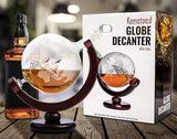 Whiskey Globe Decanter Set with Etched World Map and Antique Ship – Wooden Base and Safe Package – Perfect Gift Set for Liquor, Scotch, Bourbon, Vodka and Wine