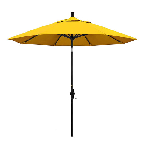 California Umbrella 9' Round Aluminum Market Umbrella, Crank Lift, Collar Tilt, White Pole, Sunbrella Pacific Blue