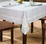 COTTON CRAFT 100% Linen Hemstitch Table Cloth - Size 60x90 Natural - Hand Crafted and Hand Stitched Table Cloth with Hemstitch Detailing.