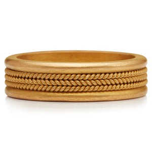 Fine Three Braid Band in 22K Apricot Gold