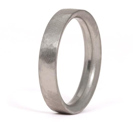 Hammered 4mm Half Moon Band in 18K White Gold
