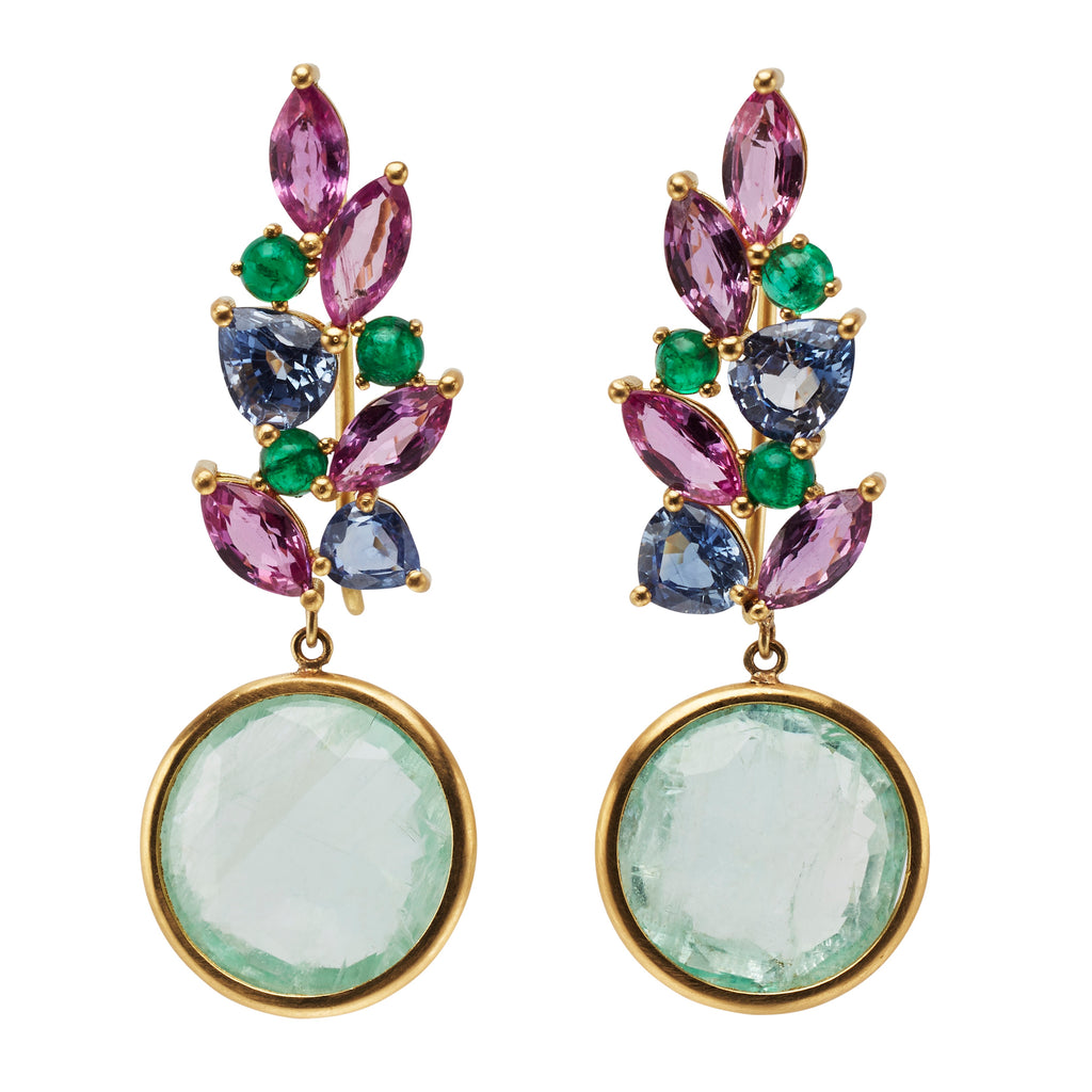 One of a Kind Earrings with Pink Sapphire Navettes, Blue Sapphires and Emeralds