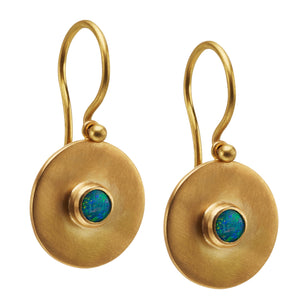 Small Disc Earrings with Opal