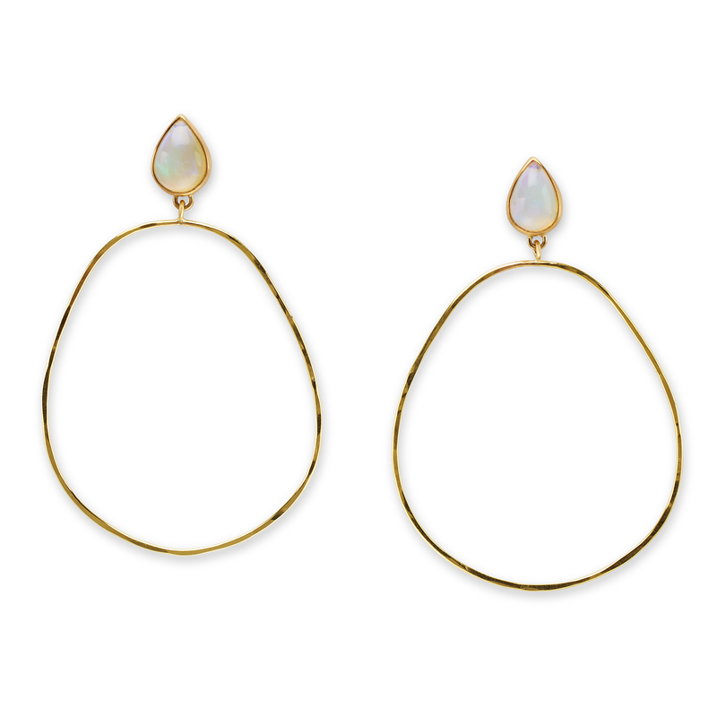 Hammered Opal Hoops