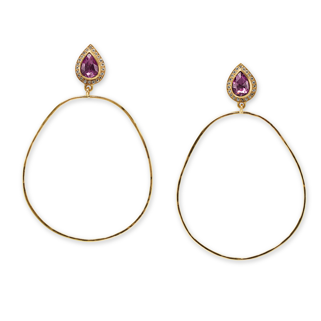 Hammered Pink Sapphire Sahara Hoops
