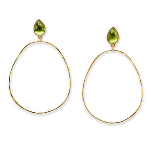 Hammered Peridot Hoops
