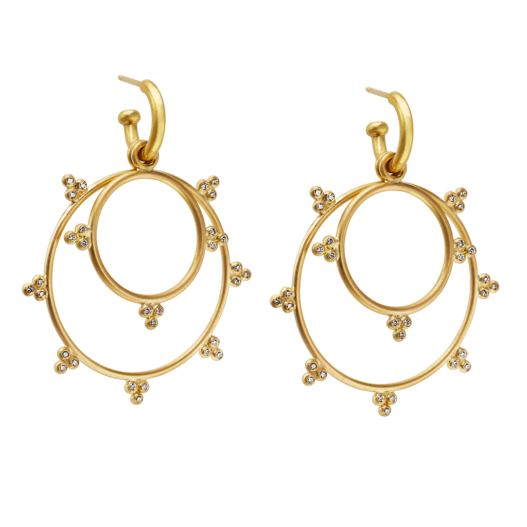 Granulated Drop Earrings, small and large in 20K Peach Gold