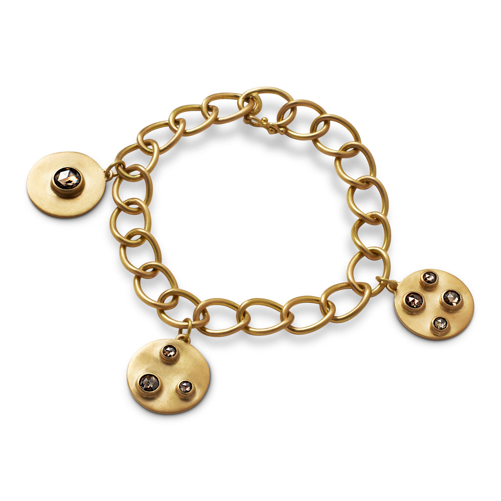 Chain Bracelet with Champagne Diamond Disc Charms