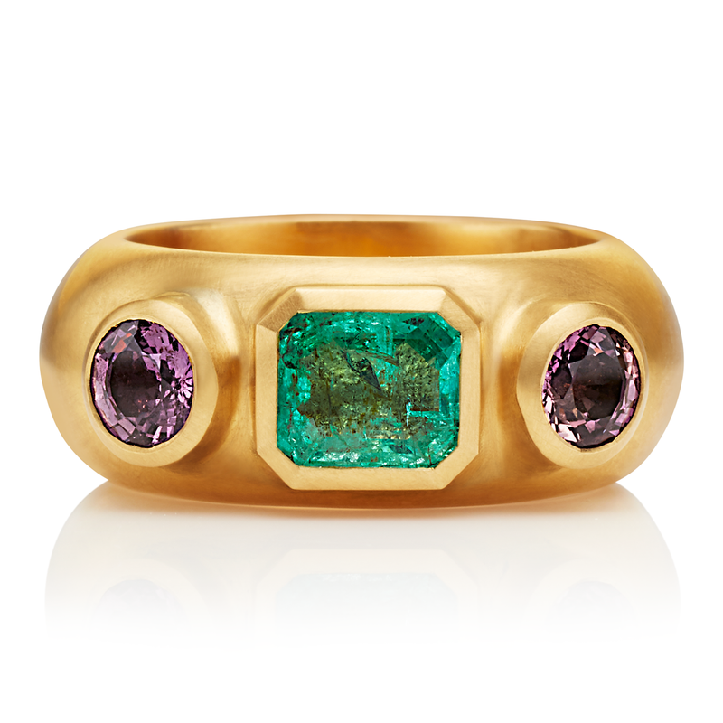 One of a Kind Ring with Emerald and Tourmalines