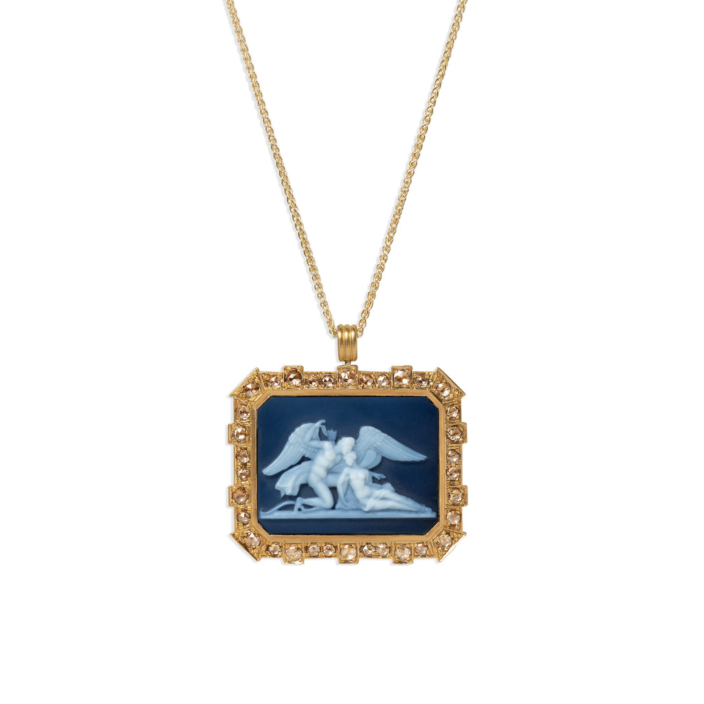 Eros & Psyche Carved Agate Cameo Pendant