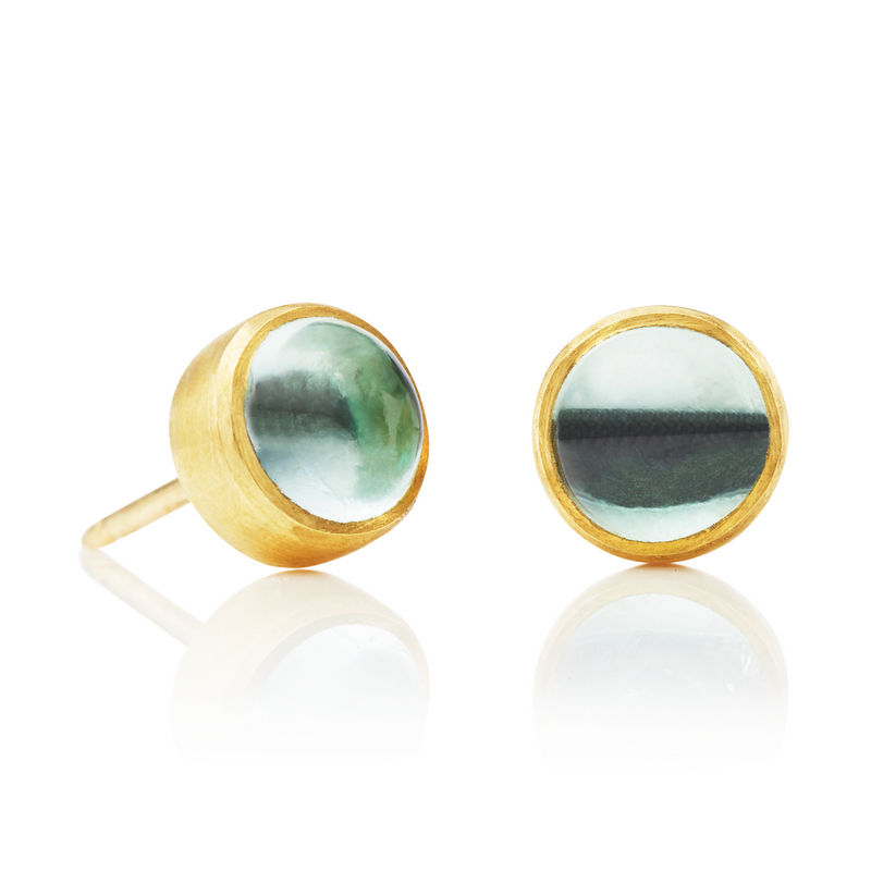 Bezel Studs with Pale Emeralds